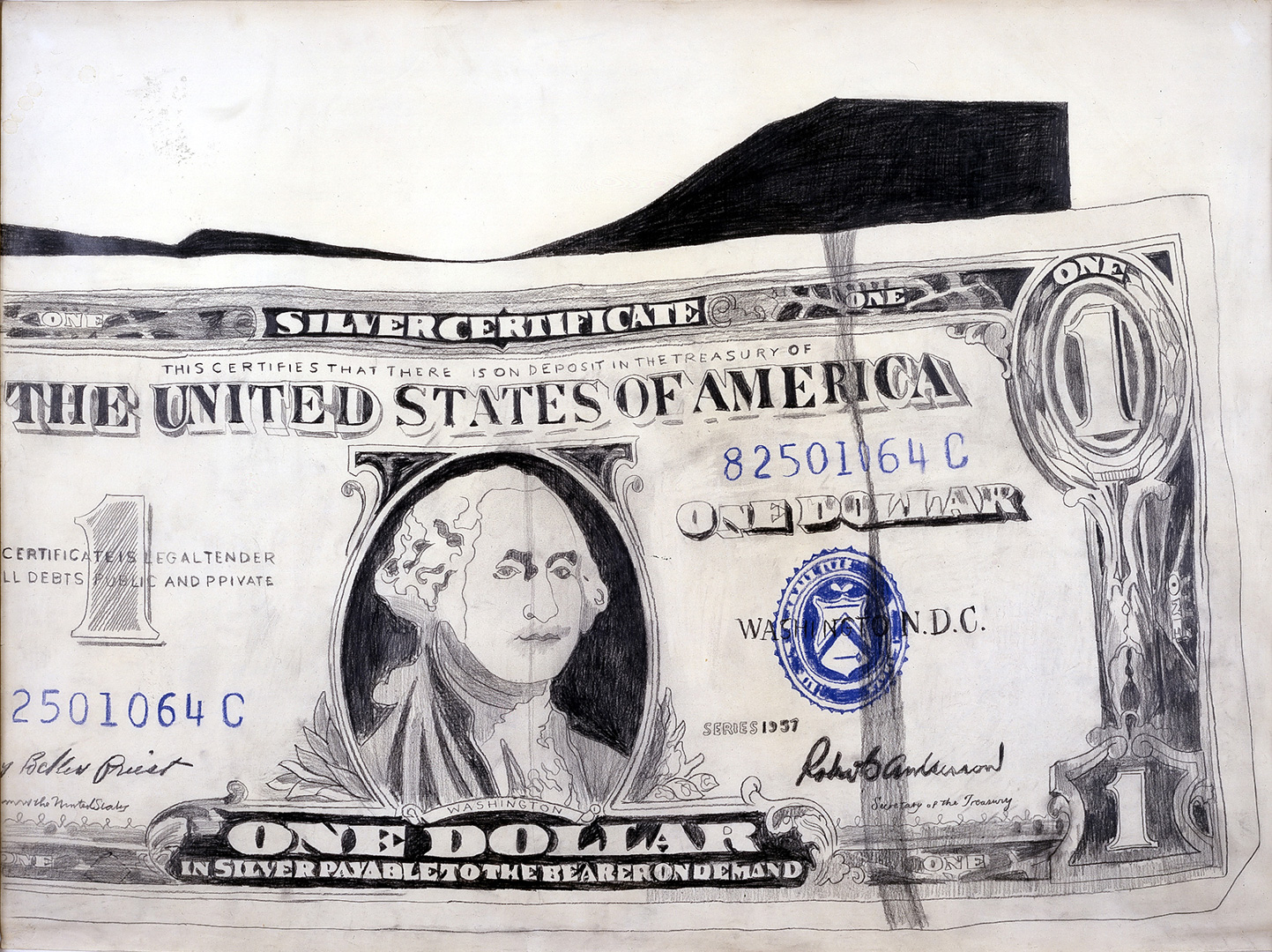 Andy Warhol - One-Dollar Bill, 1962, pencil, crayon and gouache on paper
