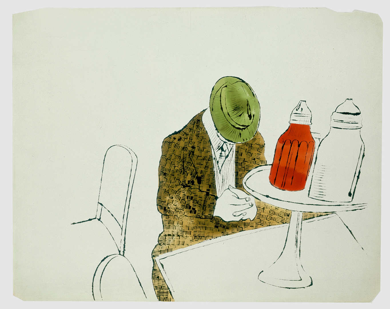 Andy Warhol - Male Seated at Automat Counter, 1958, ink and watercolor on paper