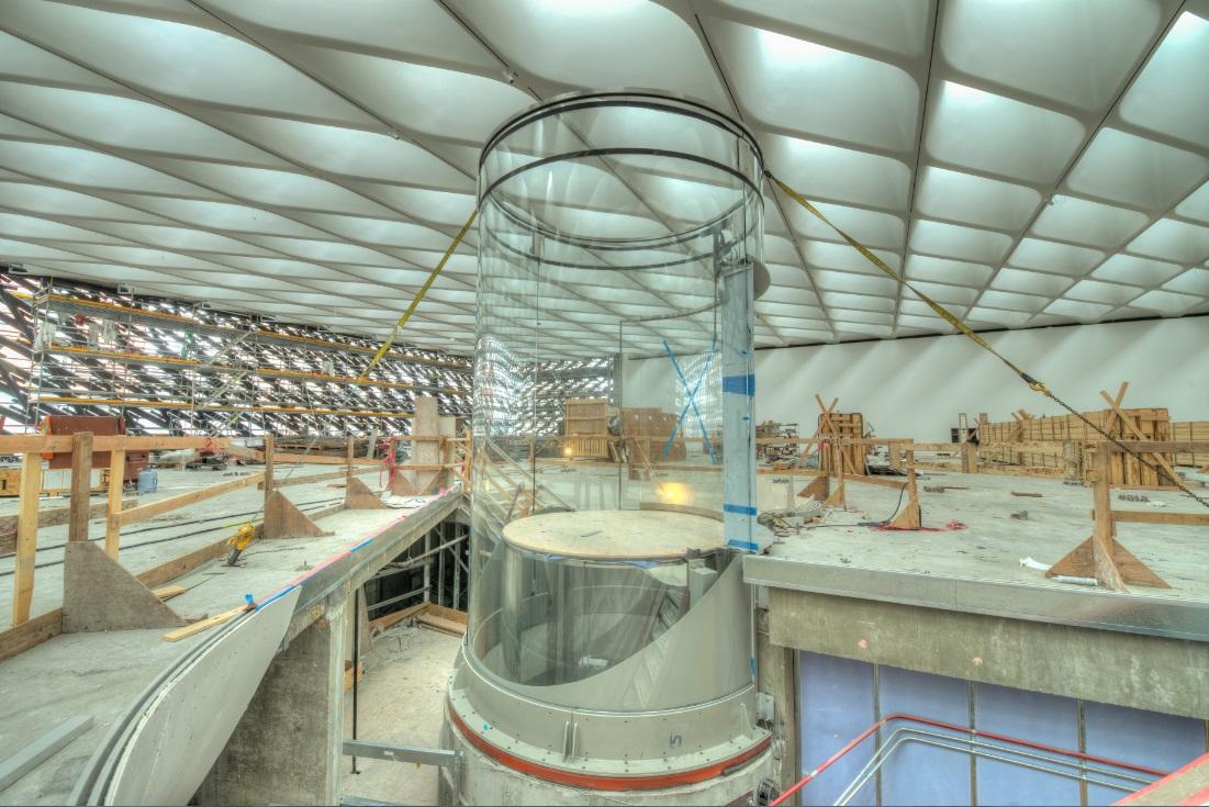 Third floor glass elevator under construction; photo by Nathaniel Riley, 6/30/14