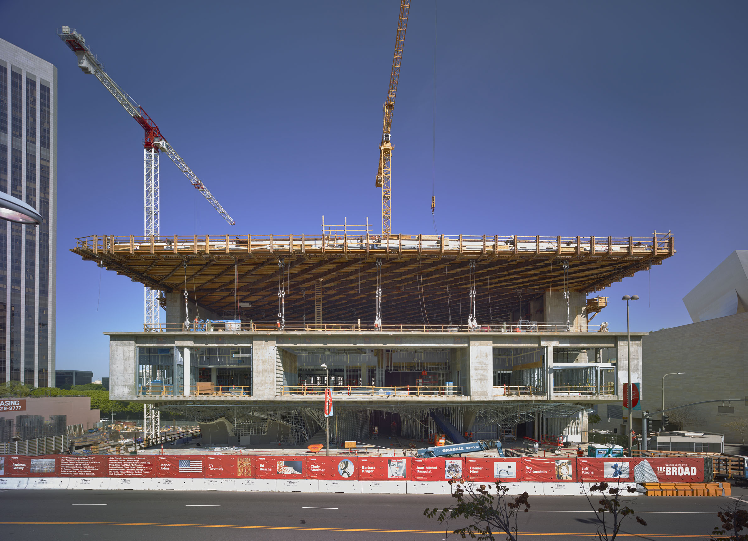 Front view of The Broad's three levels under construction; photo by Benny Chan,  5/12/13