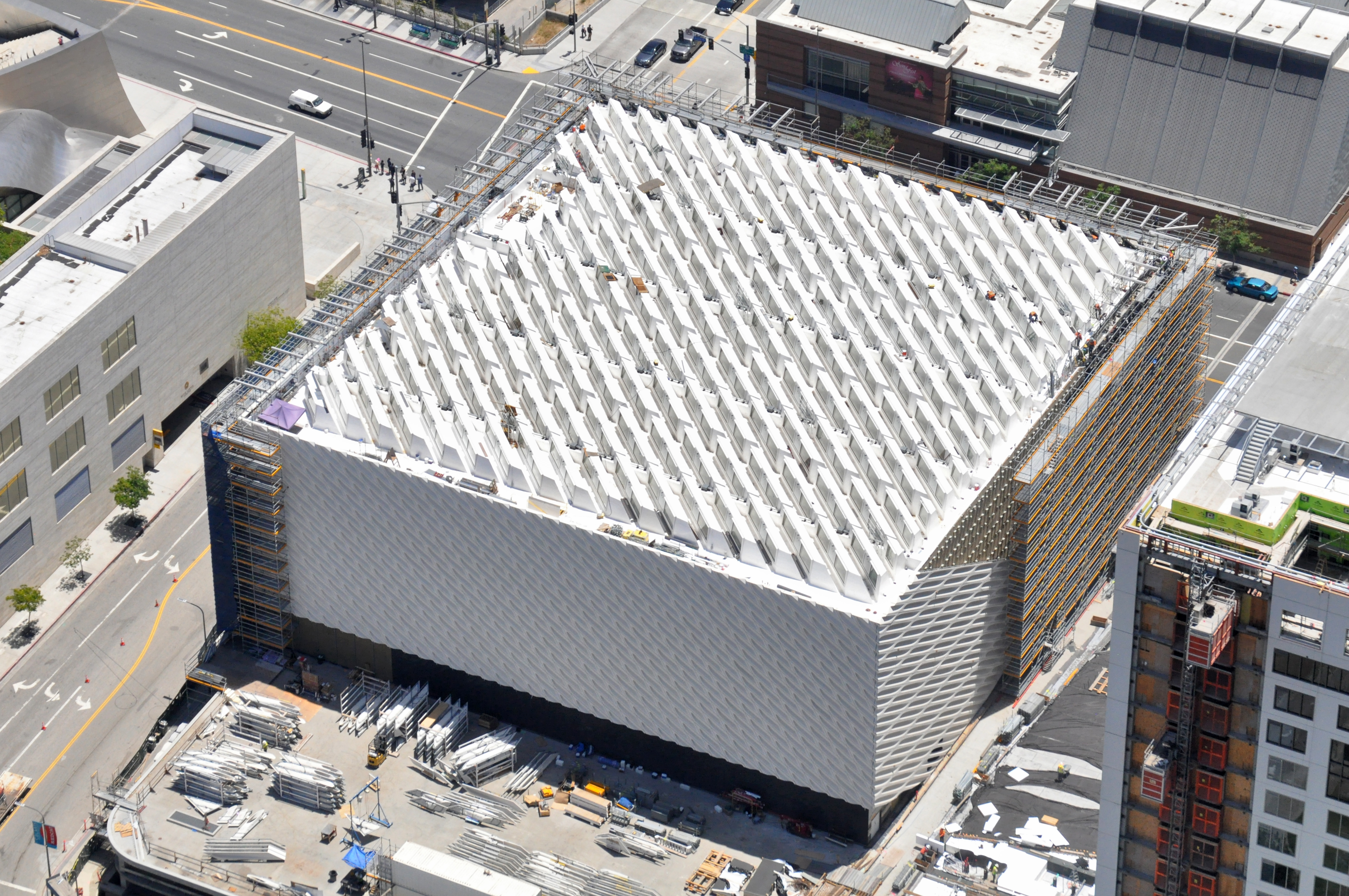Aerial photo of The Broad under construction; photo by Jeff Duran / Warren Air, 6/13/14