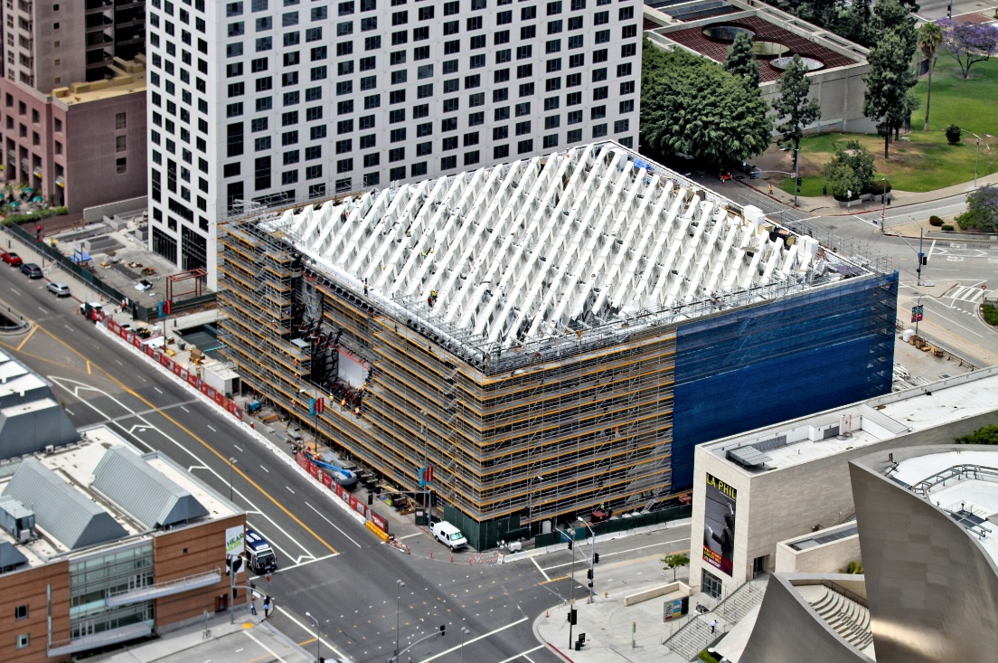 Aerial photo of The Broad under construction; photo by Jeff Duran / Warren Air, 5/15/14