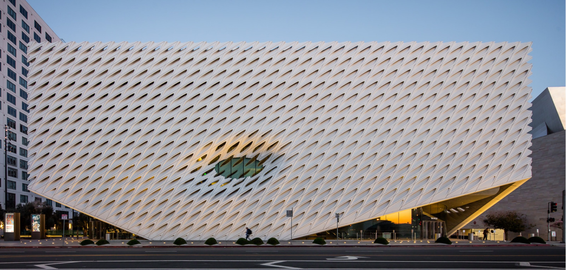 Photo of the exterior of The Broad at sunset