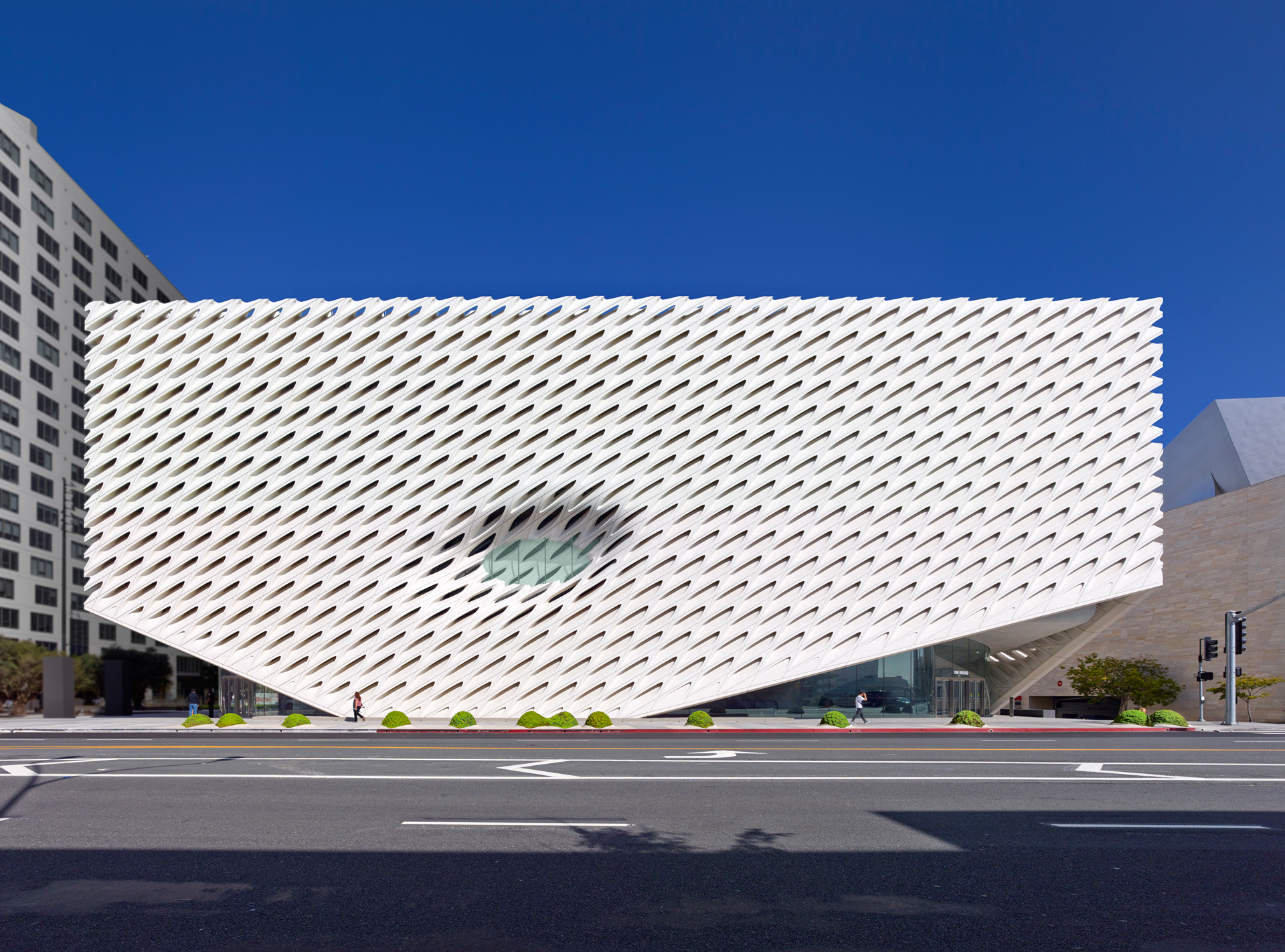 The Broad museum, on Grand Avenue in downtown Los Angeles; photo by Benny Chan, courtesy of The Broad and Diller Scofidio + Renfro