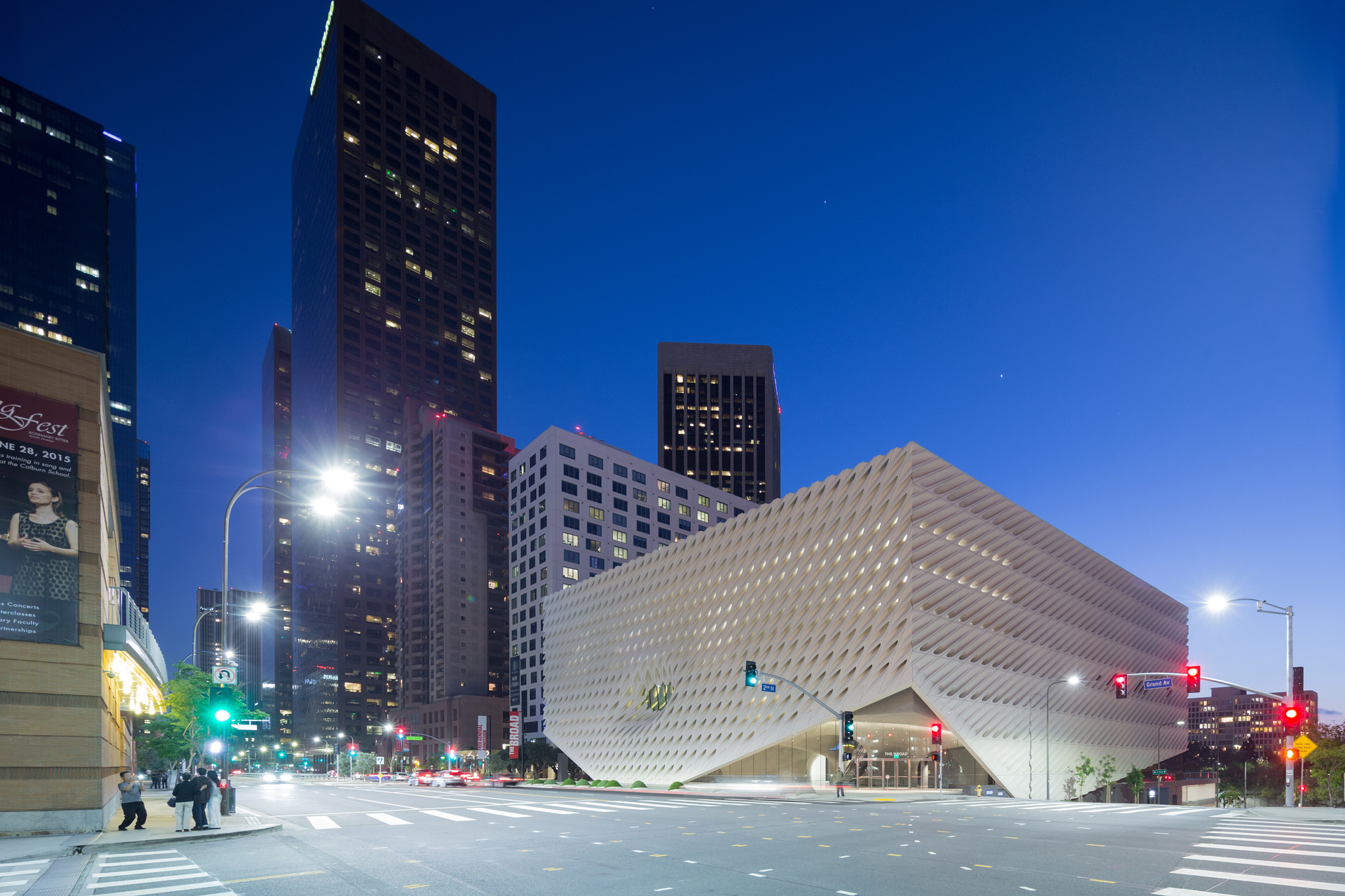 The Broad museum, on Grand Avenue in downtown Los Angeles; photo by Iwan Baan, courtesy of The Broad and Diller Scofidio + Renfro