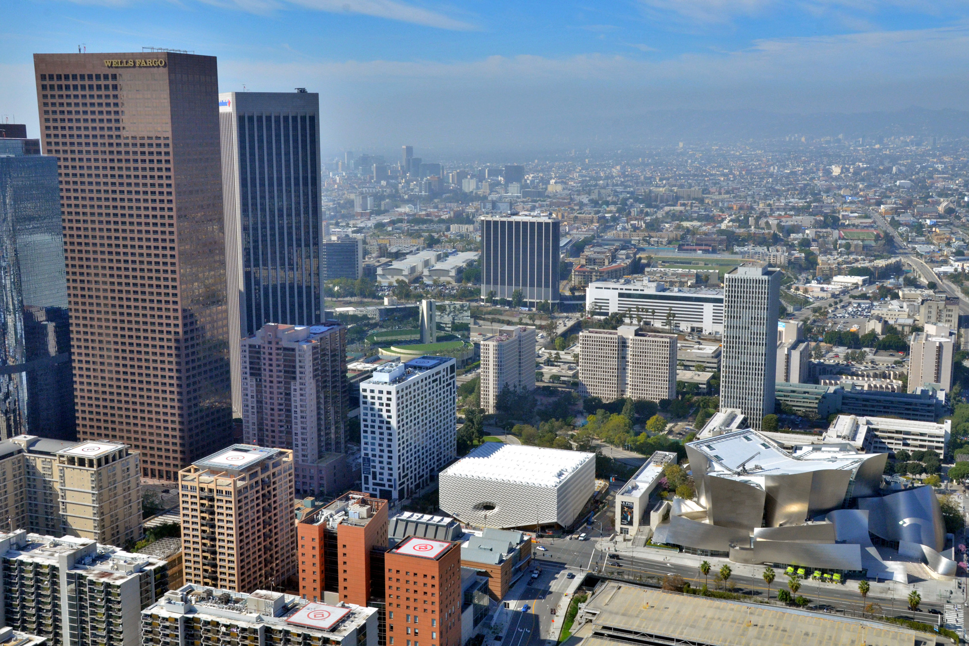 Aerial photo of The Broad museum in downtown Los Angeles; photo by Jeff Duran / Warren Air, courtesy of The Broad and Diller Scofidio + Renfro