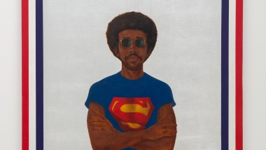 Photo of artist Barkley L. Hendricks's painting, Icon for My Man Superman (Superman Never Saved any Black People - Bobby Seale), 1969