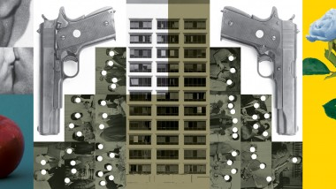 John Baldessari's 1985 work, Buildings=Guns=People: Desire, Knowledge, and Hope (with Smog)