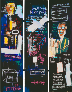 Jean‐Michel Basquiat - Horn Players, 1983, acrylic and oilstick on three canvas panels mounted on wood supports