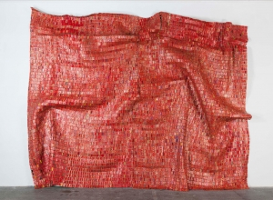 El Anatsui - Red Block, 2010, found aluminum and copper wire