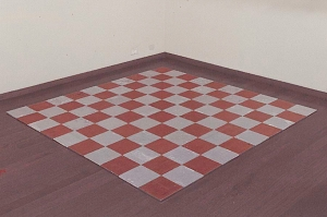 Carl Andre - Aluminum-Copper Alloy Square, 1969, 50 aluminum plates and 50 copper plates