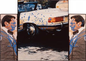 John Baldessari - Car Flanked by Doubleman (Splashed Blue), 1990, three color photographs with vinyl paint and acrylic paint