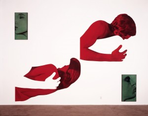 John Baldessari - Green Kiss/Red Embrace (Disjunctive), 1988, four black and white photographs with oil tint