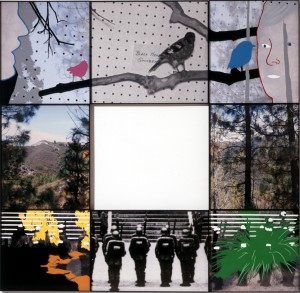 John Baldessari - Junction Series: Two Landscapes, Birds (with People) and Soldiers (at Attention), 2002, digital photographic print with acrylic on Sintra board in 8 parts
