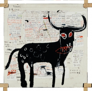 Jean‐Michel Basquiat - Beef Ribs Longhorn, 1982, acrylic, oilstick, and paper collage on canvas mounted on tied wood supports