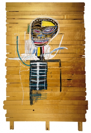 Jean‐Michel Basquiat - Gold Griot, 1984, acrylic and oilstick on wood