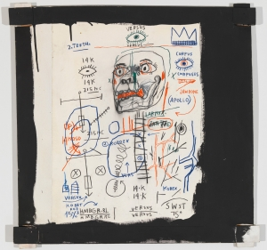 Jean‐Michel Basquiat - Santo 2, 1982, acrylic, oilstick, and paper on canvas with exposed wood supports