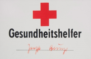 Joseph Beuys - Gesundheitshelfer, 1979, plastic sign with handwritten addition