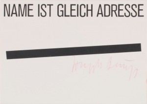 Joseph Beuys - Name ist gleich Adresse, 1974, offset on cardstock, stamps reproduced
