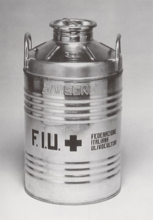 Joseph Beuys - Ölkanne F.I.U., 1980, metal can containing a small amount of olive oil, stamped