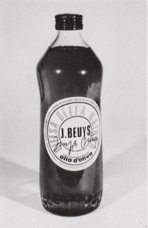 Joseph Beuys - Ölflasche, 1984, two bottles of olive oil, one with printed white label and one with printed gold label