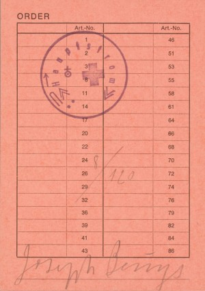 Joseph Beuys - Order, 1973, order form, stamped