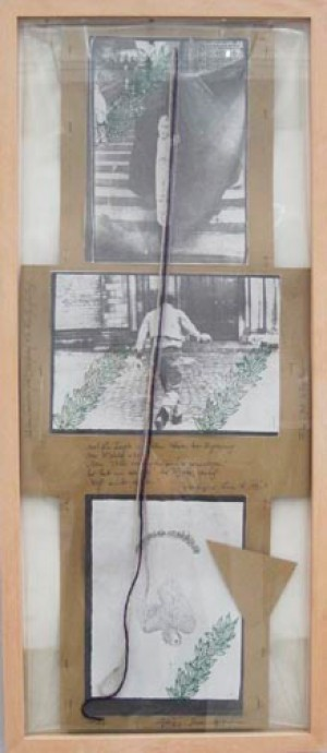 Joseph Beuys - Plakat-Kreuz Friedens feier, 1972, photocopies mounted on cardboard with handwritten text by Hafner, stamped; in plastic sheet with colored yarn