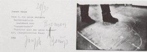 Joseph Beuys - Raum 3, 1981, invitation card with handwritten correction