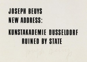 Joseph Beuys - Ruined by State, 1974, offset on cardstock, stamps reproduced