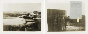 Joseph Beuys - Schautafeln für den Unterricht I und II, 1971, two photographs mounted on cardboard; Board I with zinc plate, sulphur, and handwritten text