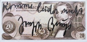 Joseph Beuys - Schilling, 1979, banknote with handwritten text