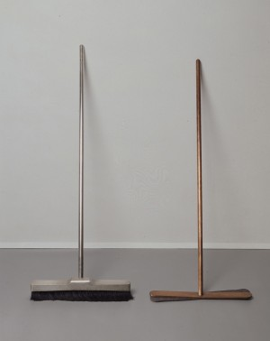 Joseph Beuys - Silberbesen und Besen ohne Haare, 1972, broom (wood and horsehair), encased in 1 mm silver sheet. Solid copper and felt