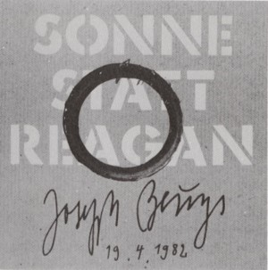 Joseph Beuys - Sonne statt Reagan, 1982, phonograph record, in sleeve with red oil paint