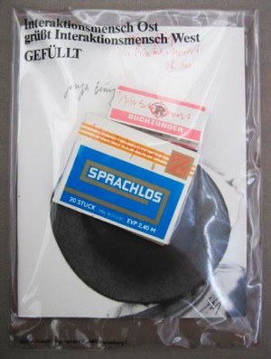Joseph Beuys - Sprachlos, 1982, exhibition catalogue, Sprachlos cigarillo package, and matches, all with handwritten addition; in printed transparent plastic envelope