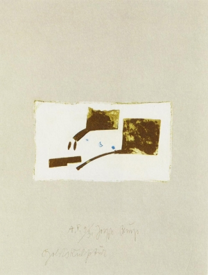 Joseph Beuys - Suite Schwurhand: Goldskulptur, 1980, aquatint and lithograph on paper laid down on gray Rives wove