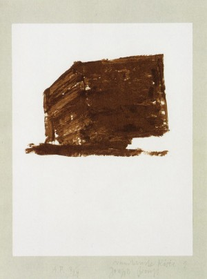 Joseph Beuys - Suite Schwurhand: Wandernde Kiste 1, 1980, lithograph on paper laid down on gray Rives wove