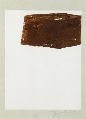 Joseph Beuys - Suite Schwurhand: Wandernde Kiste 2, 1980, lithograph on paper laid down on gray Rives wove