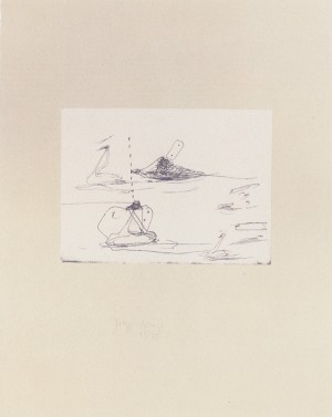 Joseph Beuys - aus: Intelligenz der Schwäne aus der Suite Tränen, 1985, etching on thin paper laid down on gray wove