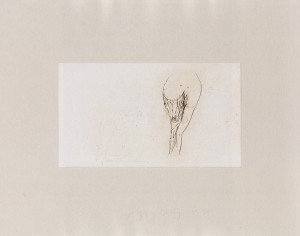 Joseph Beuys - Frauentorso aus der Suite Tränen, 1985, etching on thin paper laid down on gray wove