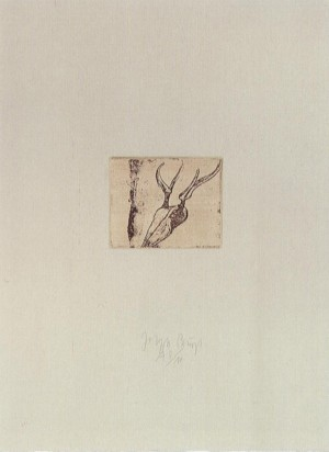Joseph Beuys - Hirsch-Fuß aus der Suite Tränen, 1985, etching on thin paper laid down on gray wove