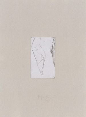 Joseph Beuys - Hirsch-Schädel aus der Suite Tränen, 1985, etching on thin paper laid down on gray wove