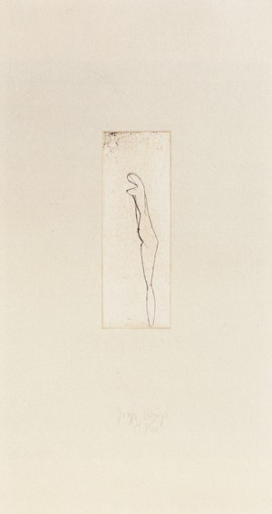 Joseph Beuys - Jungfrau aus der Suite Tränen, 1985, etching on thin paper laid down on gray wove