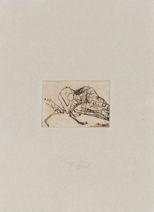 Joseph Beuys - Schafskelett aus der Suite Tränen, 1985, etching on thin paper laid down on gray wove