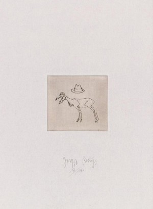 Joseph Beuys - Suite Zirkulationszeit: Hirsch und Hut, 1982, etching and drypoint on white wove