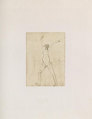 Joseph Beuys - Suite Zirkulationszeit: o.T. [Mädchen], 1982, etching on white wove