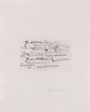 Joseph Beuys - Suite Zirkulationszeit: Urschlitten 2, 1982, etching and drypoint on white wove