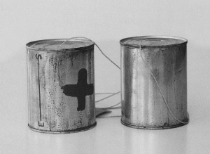 Joseph Beuys - Telephon S-----------------E, 1974, two tin cans, one with brown paint (Browncorss); string, label