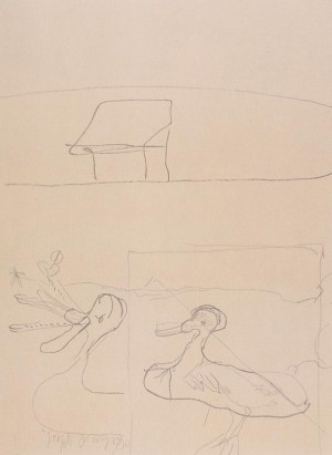 Joseph Beuys - Triptychon: Quacking underneath the Hut, 1981, lithograph on cardstock