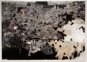 Mark Bradford - Across 110th Street, 2008, mixed media collage on canvas