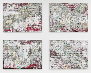 Mark Bradford - Journal Entry#1-4, 2013, mixed media on canvas